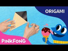 Origami para niños de cucurucho de helado con canción infantil.